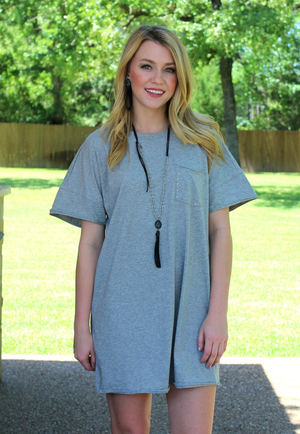Talk About It Short Sleeve Tee Shirt Dress with Studded Pocket in Heather Grey