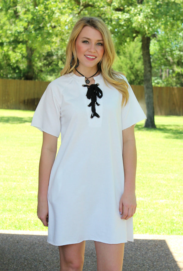 Southern Comfort Lace Up Tee Shirt Dress in White
