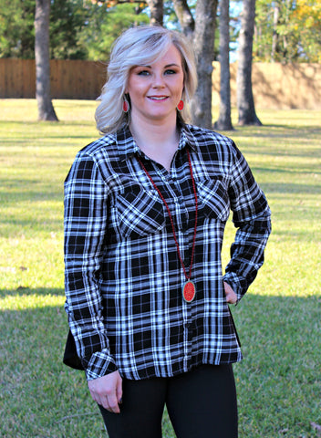 Familiar Places Long Sleeve Peplum Plaid Shirt in Black