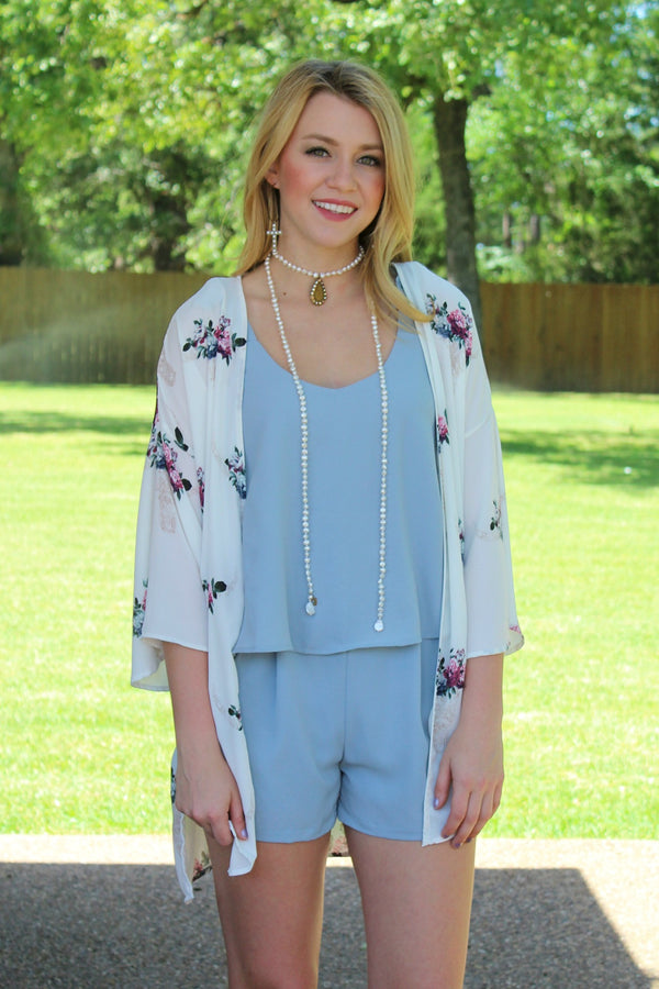 Weekend Bliss Layered Romper in Dusty Blue
