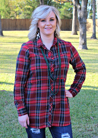 Seasonal Favorite Long Sleeve Peplum Plaid Shirt in Red Tartan