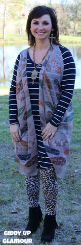 Cherokee Queen Multi Print Feather Vest Cover Up