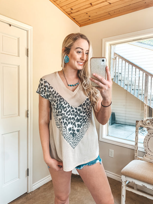 Being Your Best Waffle Knit V Neck Top with Leopard Accents in Beige