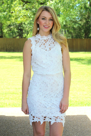 Quick To Stare Crochet Dress in White