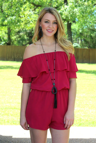 Girlfriend's Getaway Ruffle Romper in Fuchsia