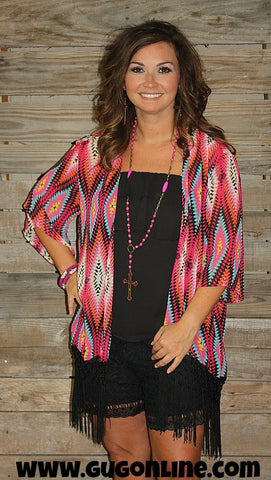 Blazing Fire Fuchsia and Turquoise Aztec Kimono with Fringe