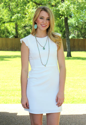 Southern Socialite Ruffle Sleeve Dress in White