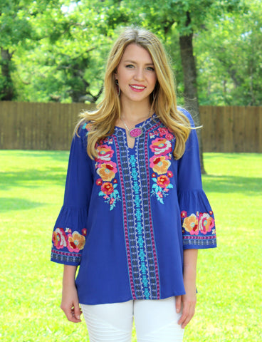 Give Me Color Floral Embroidered Blouse in Royal Blue