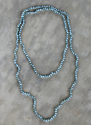 60 Inch Long Layering Crystal Strand Necklace in Mint AB