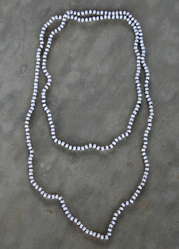 60 Inch Long Layering Crystal Strand Necklace in Pearled Ivory
