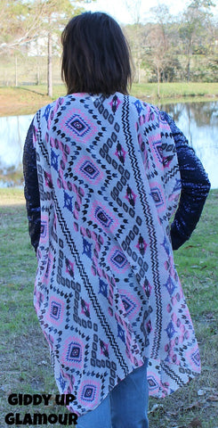 Barely There Aztec Vest Cover Up in Royal Blue and Pink