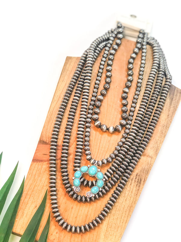 Navajo Pearl Necklace with Turquoise Naja Pendant in Silver