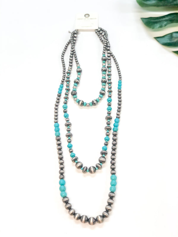 Set of Three | Multi Shape Navajo Pearl and Turquoise Beaded Necklace in Silver