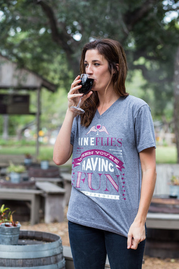 Wine Flies When You're Having Fun Short Sleeve Tee
