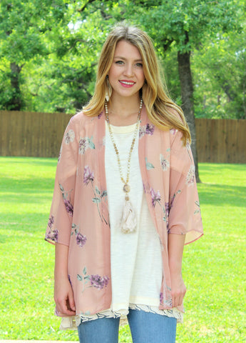 Can't Miss It Sheer Floral Kimono in Dusty Pink