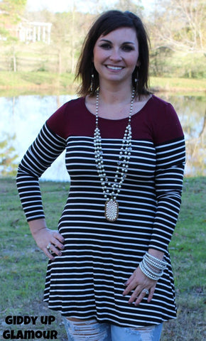 Anything Goes Stripe Colorblock Tunic in Maroon