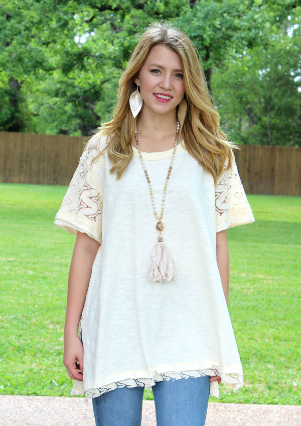 Loved By Me Crochet Back Tunic in Ivory