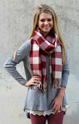 Maroon and Ivory Plaid Scarf