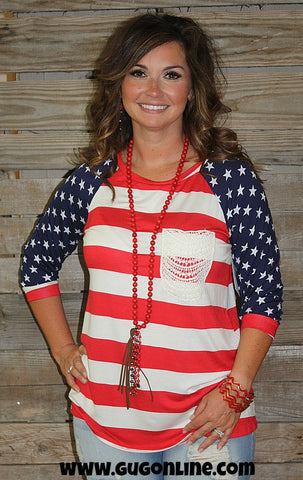 Let Freedom Ring USA Flag Top with Crochet Pocket