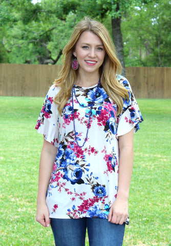 Sweeter Than Fiction Floral Short Sleeve Top in Ivory
