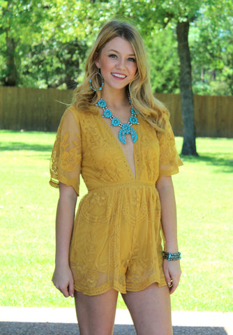 Eternal Love Lace Romper in Mustard Yellow