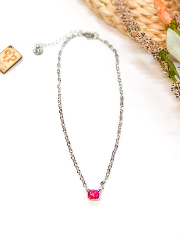 Pink Panache | Silver Chain Necklace with Small Cushion Cut Crystal in Royal Red Delight