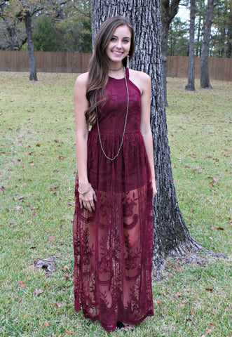Lessons in Love Lace Maxi Romper in Maroon
