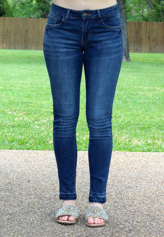 Make It Worth It Ankle Length Skinny Jeans in Dark Wash