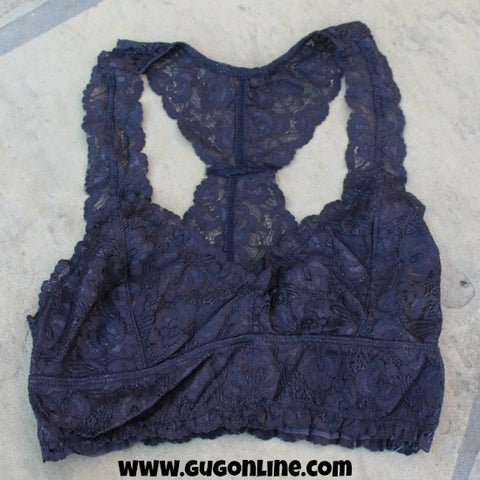 Racerback Lace Bralette in Charcoal Grey
