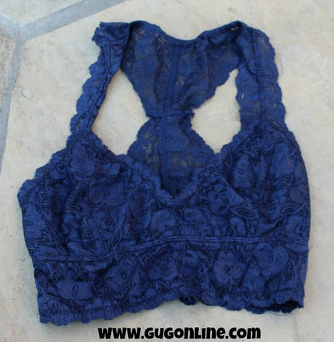 Racerback Lace Bralette in Navy Blue