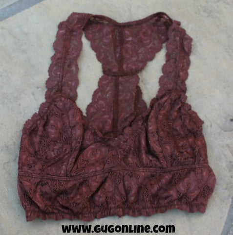 Racerback Lace Bralette in Brown