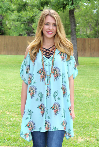 Pretty Little Thing Cactus and Indian Head Sheer Open Shoulder Tunic in Mint