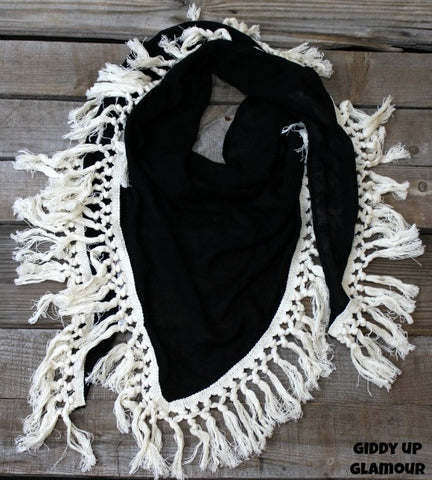 Black Scarf with Ivory Tassel Trim