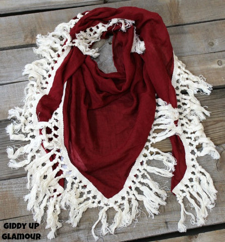 Maroon Scarf with Ivory Tassel Trim