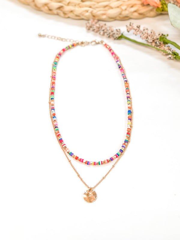 Double Strand Necklace with Disk Beads and Gold Circle Pendant