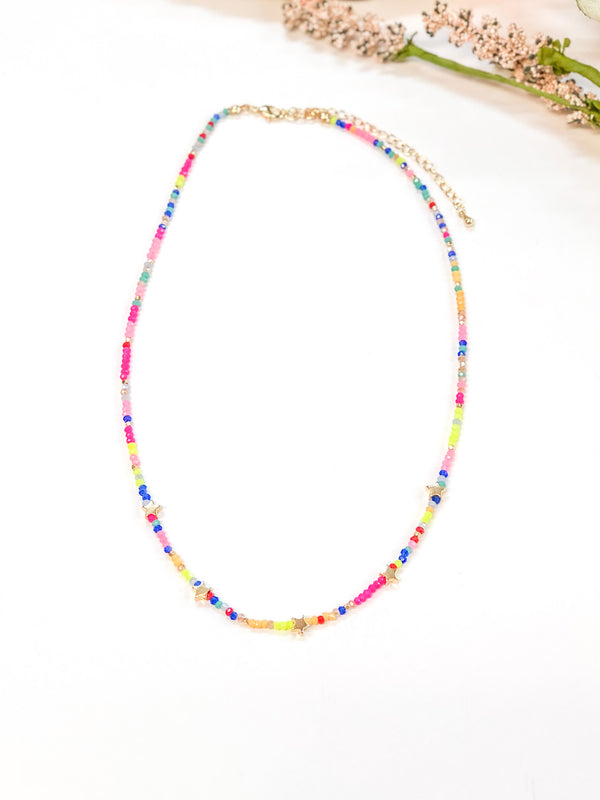 Beaded Choker Necklace with Gold Stars in Multi
