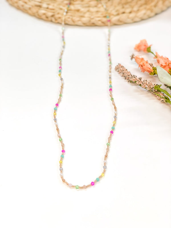 Crystal Beaded Necklace with Gold Spacers in Multi