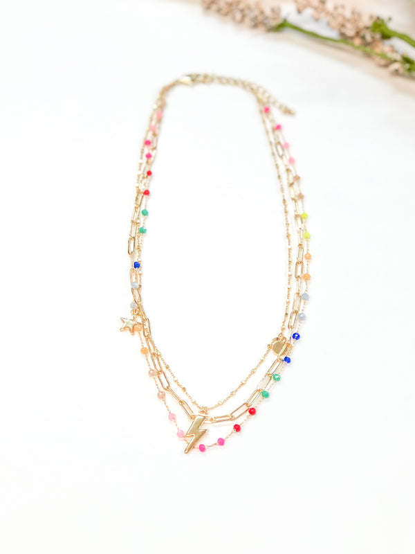 Strike Me Three Strand Necklace with Multi Color Beads and Lightning Bolt  in Gold