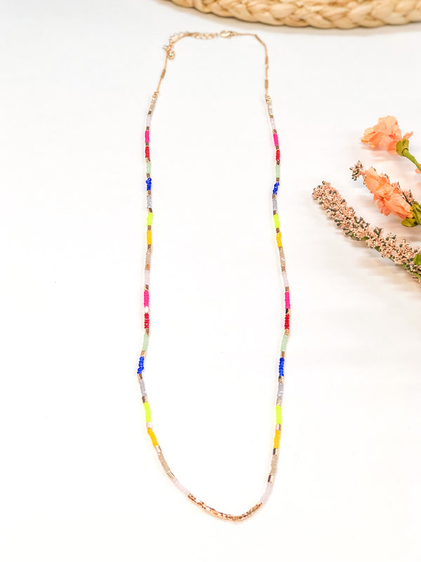 Small Crystal Beaded Layering Necklace in Multi