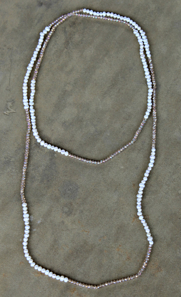 Crystal Strand Necklaces Pearl