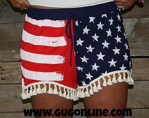 Love This Land USA Flag Shorts with Tassels