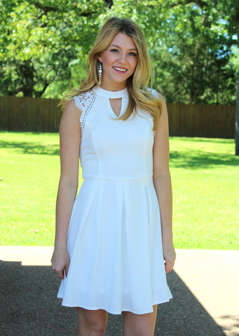Lucky in Love Crochet Sleeve Dress in White