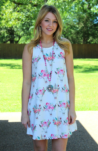 All The Way Home Sleeveless Cow Skull Dress