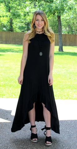 Define Me High-Low Maxi Dress in Black