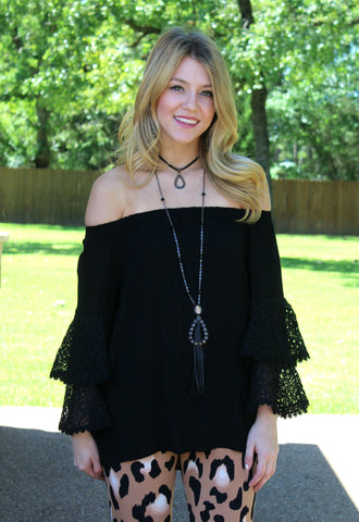 Star of the Show Off Shoulder Top in Black