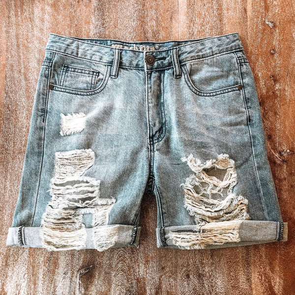 Worn Down Destroyed Boyfriend Cuffed Shorts