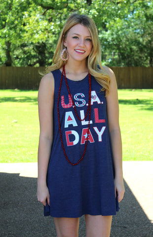 USA All Day Sleeveless Dress