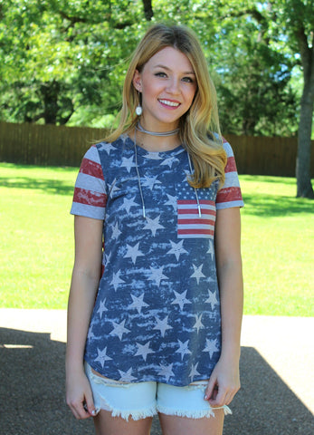 America's Sweetheart Short Sleeve Flag Pocket Tee
