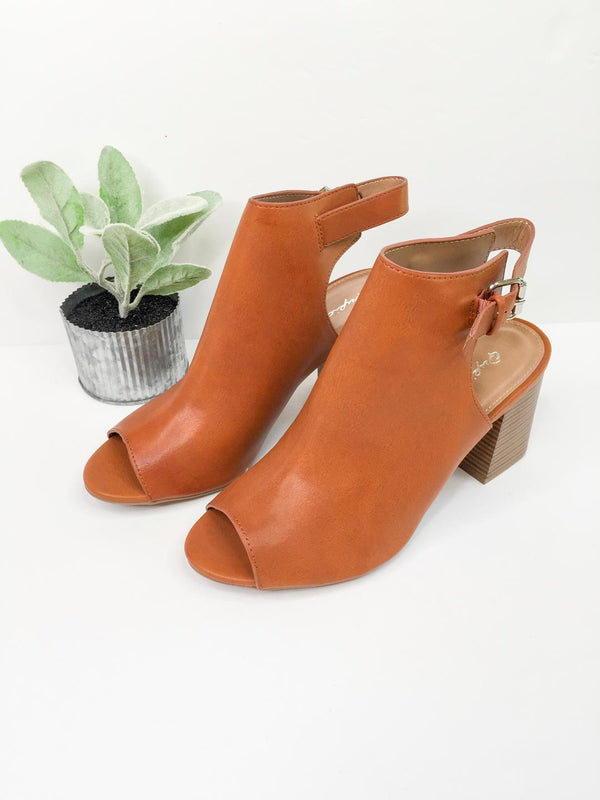 Watch Me Walk Peep Toe Booties in Cognac Brown