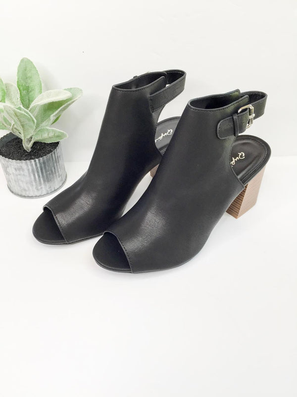Watch Me Walk Peep Toe Booties in Black